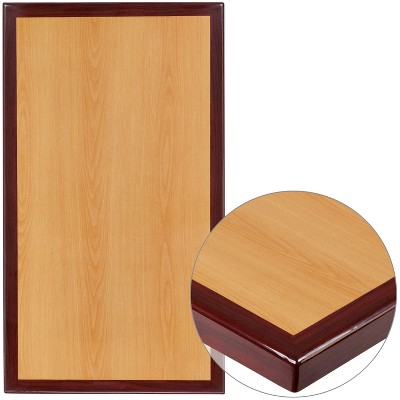 """Flash Furniture 24"""" x 30"""" Rectangular 2-Tone High-Gloss Cherry Resin Table Top with 2"""" Thick Mahogany Edge"""