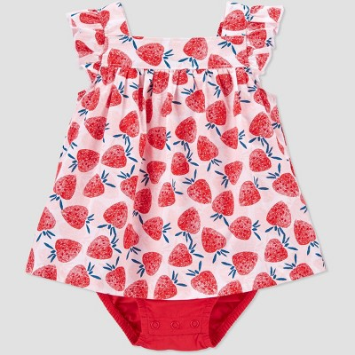 Baby Girls' Strawberry Sunsuit Romper - Just One You® made by carter's Pink