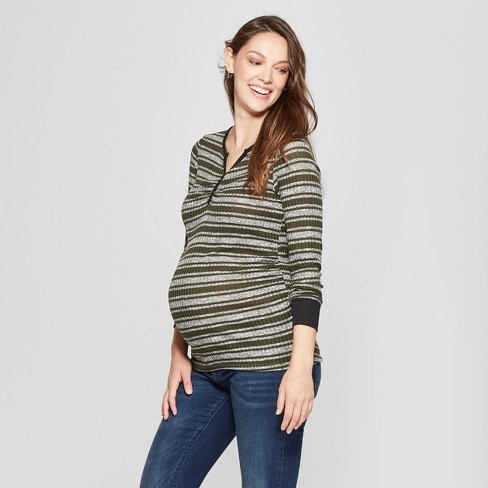Maternity Striped Long Sleeve Button Placket Top - MaCherie - Olive - image 1 of 2