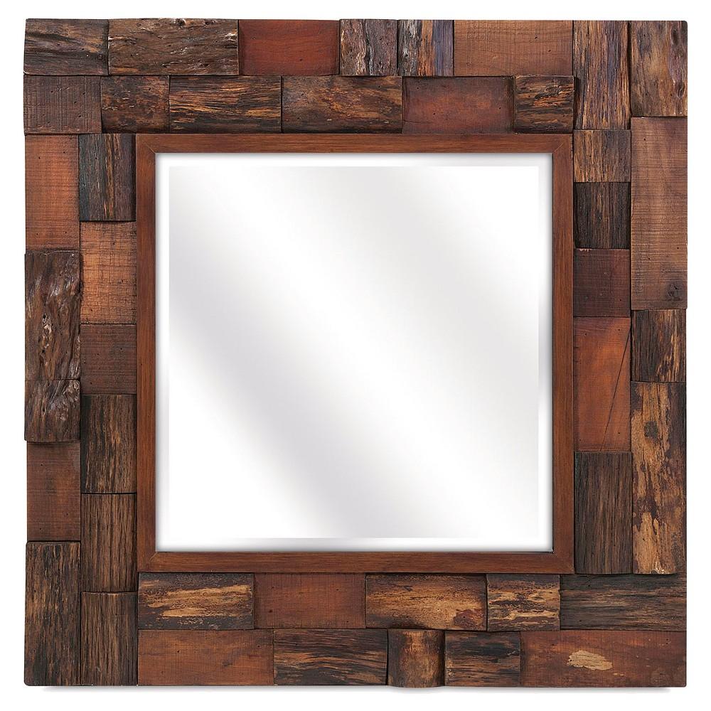 Square Decorative Wall Mirror Brown - Aurora Lighting