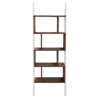 Ascencio Ladder Bookshelf and Display Case White/Walnut - HOMES: Inside + Out