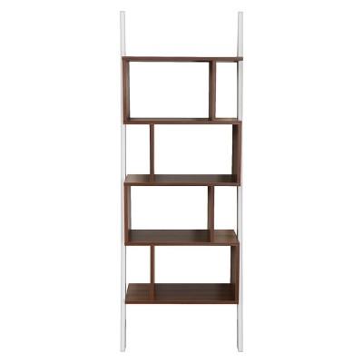 Ascencio Ladder Bookshelf and Display Case White/Walnut - ioHOMES