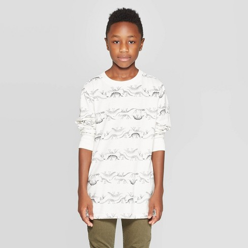 Boys' Long Sleeve T-Shirt - Cat & Jack™ Cream - image 1 of 3