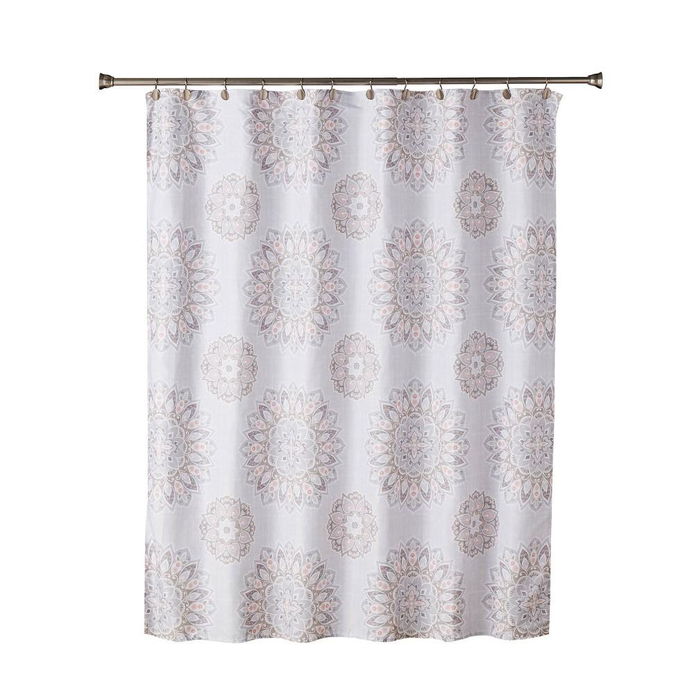 Ariel Medallion Shower Curtain In Coral Pink Skl Home