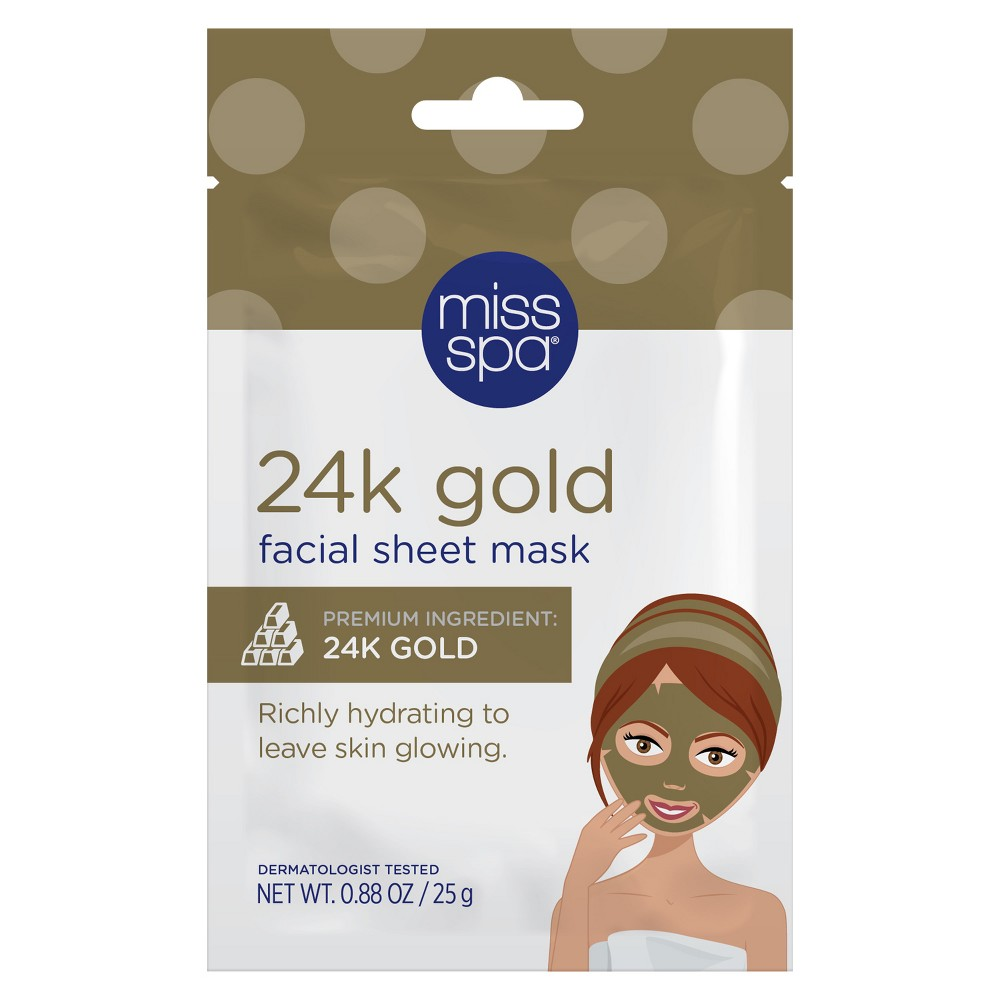 Unscented Miss Spa Restore and Brighten 24k Gold Radiance Facial Sheet Mask - 1ct