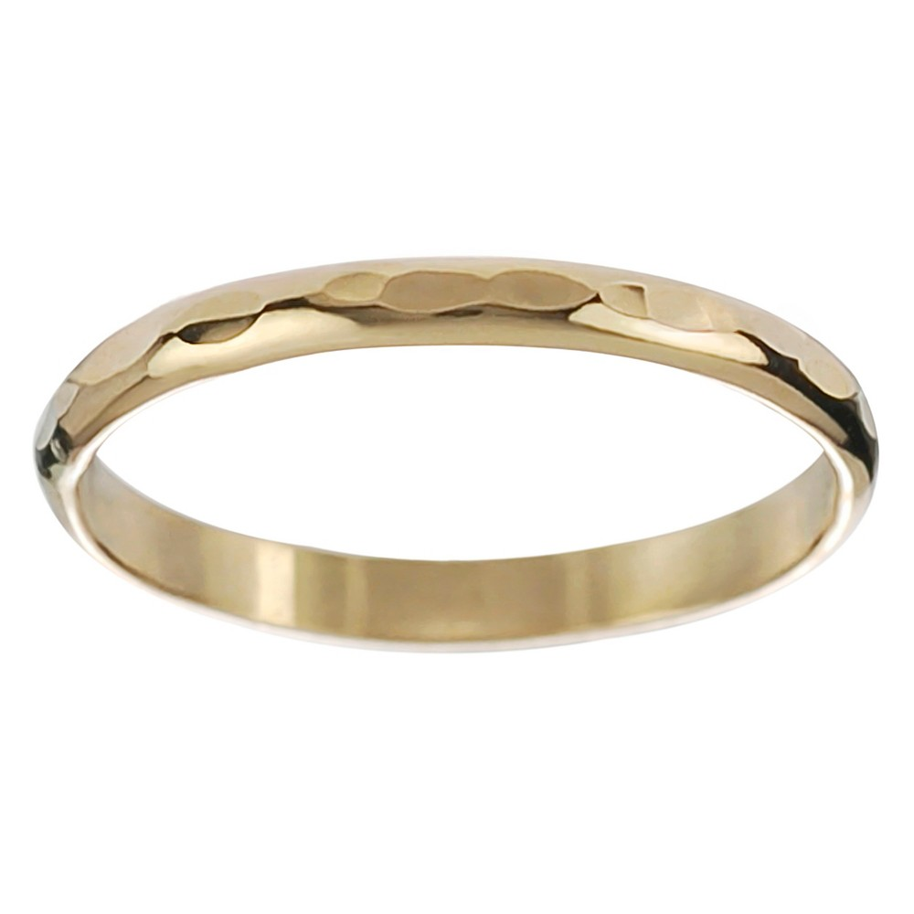 Women's Journee Collection Handcrafted Hammered Band in Sterling Silver - Gold, 6 (2.8 mm)