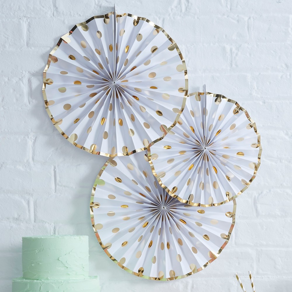 3ct Ginger Ray Gold Foiled Polka Dot Paper Fan Decorations Pick And Mix, Women's