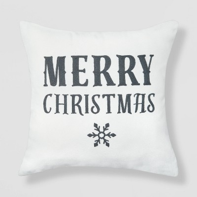 Merry Christmas with Snowflakes Throw Pillow Reversible Gray Solid Knit - Wondershop™