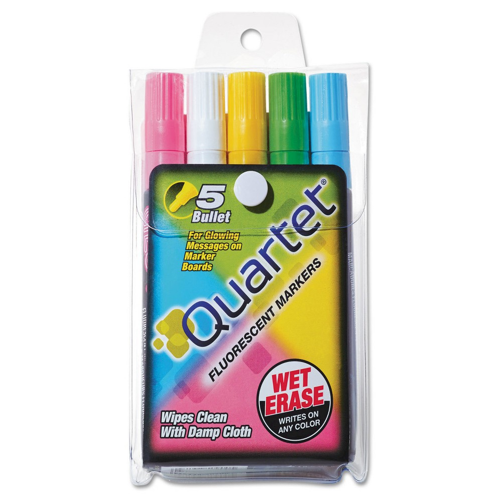 Quartet Glo-Write Fluorescent Markers, Five Assorted Colors, 5/Set, Multi-Colored