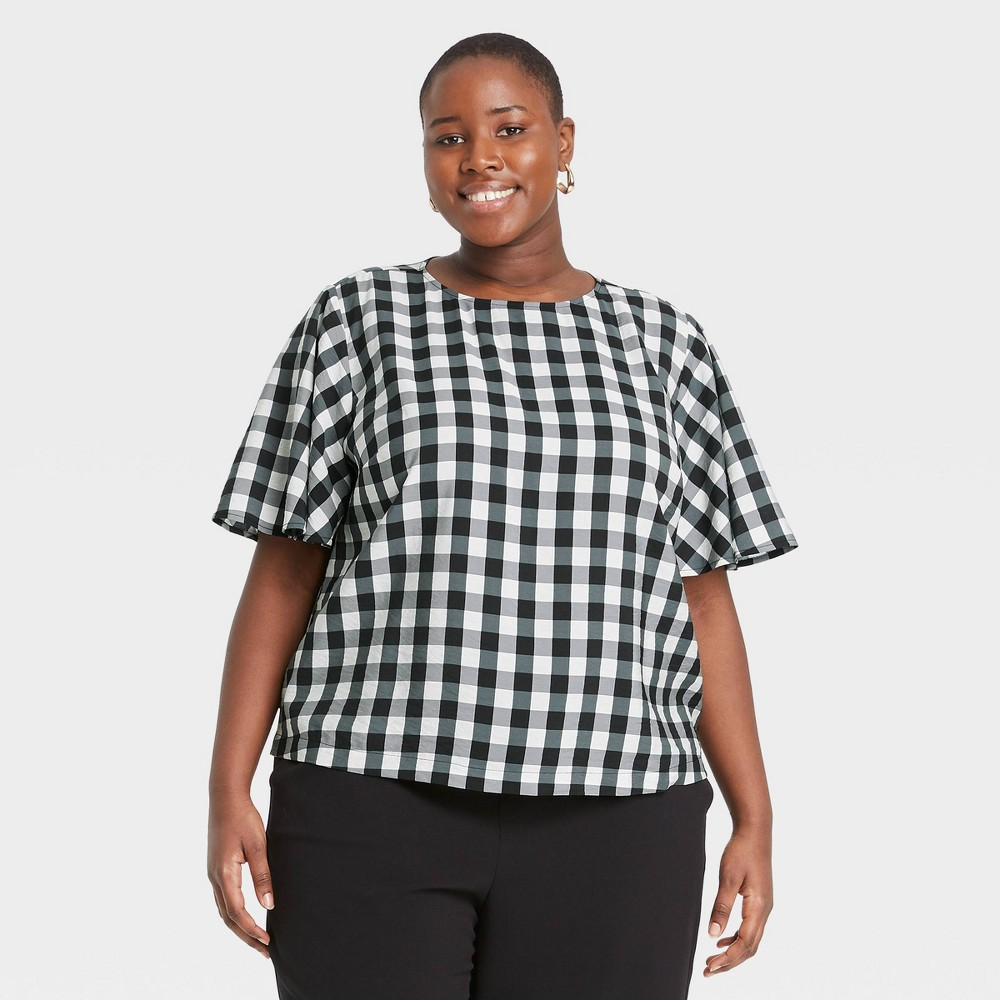 Women 39 S Plus Size Gingham Check Flutter Short Sleeve Top A New Day 8482 Black White 4x
