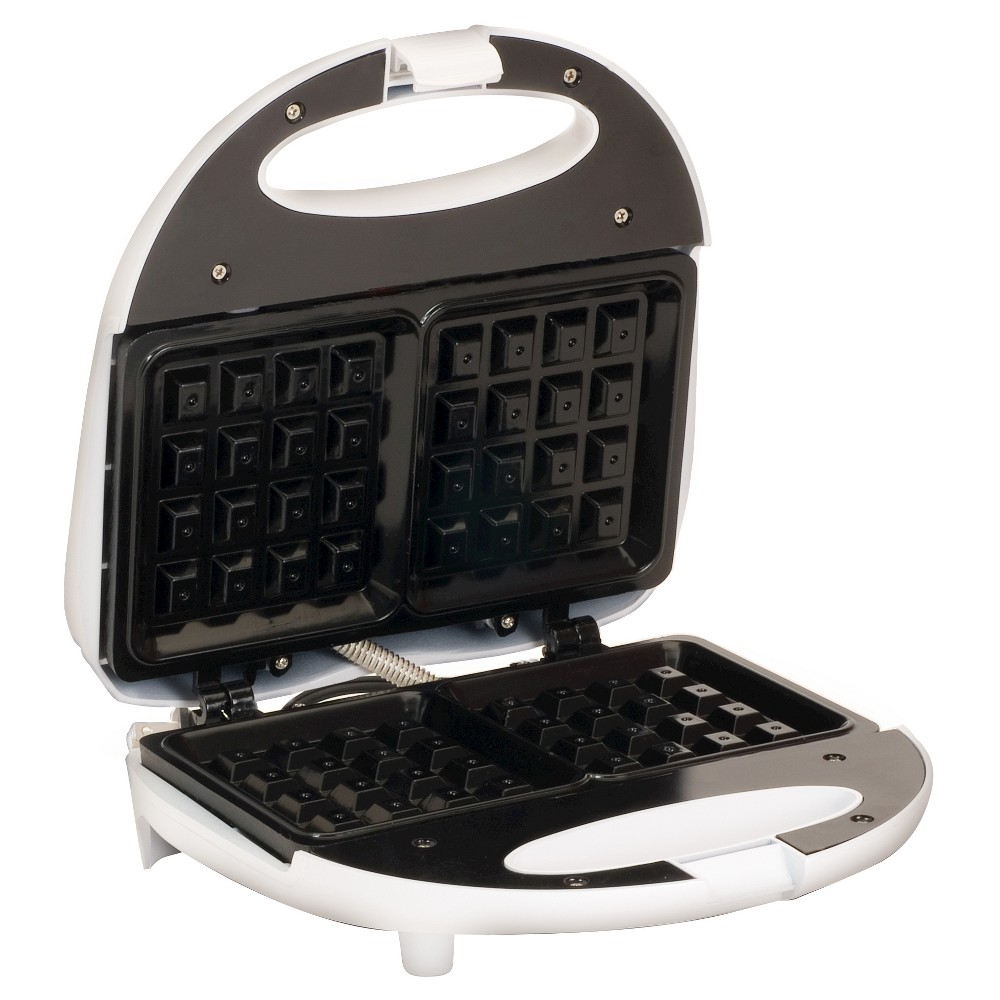 Image of Elite Cuisine Square Belgian Waffle Maker in White