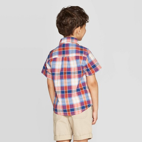 a0e3c8a7 Toddler Boys' Slub Poplin Multi Plaid Short Sleeve Button-Down Shirt - Cat  & Jack™ Red