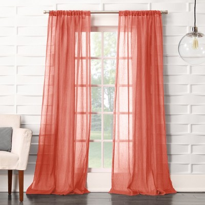 Avril Crushed Sheer Rod Pocket Curtain Panel Coral 50 x63  - No. 918