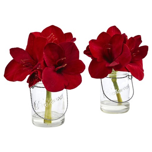 Amaryllis In Glass Vase Set Of 2 Nearly Natural Target
