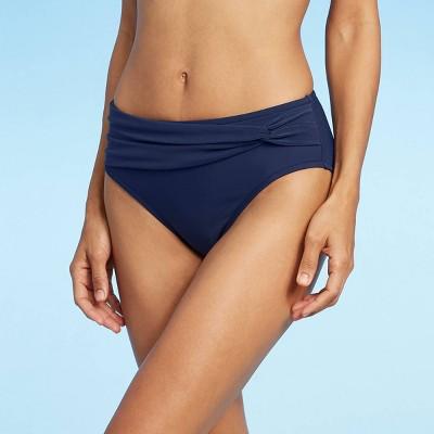 Women's Sash Waist Bikini Bottom - Aqua Green® Navy