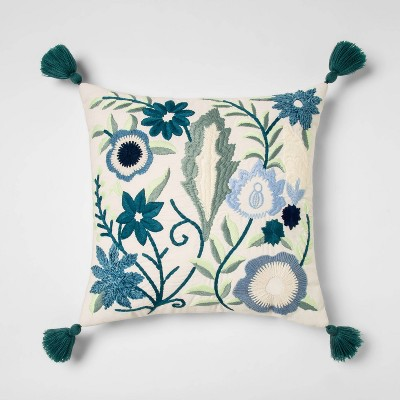 Square Embroidered Floral Pillow With Tassels Teal - Opalhouse™
