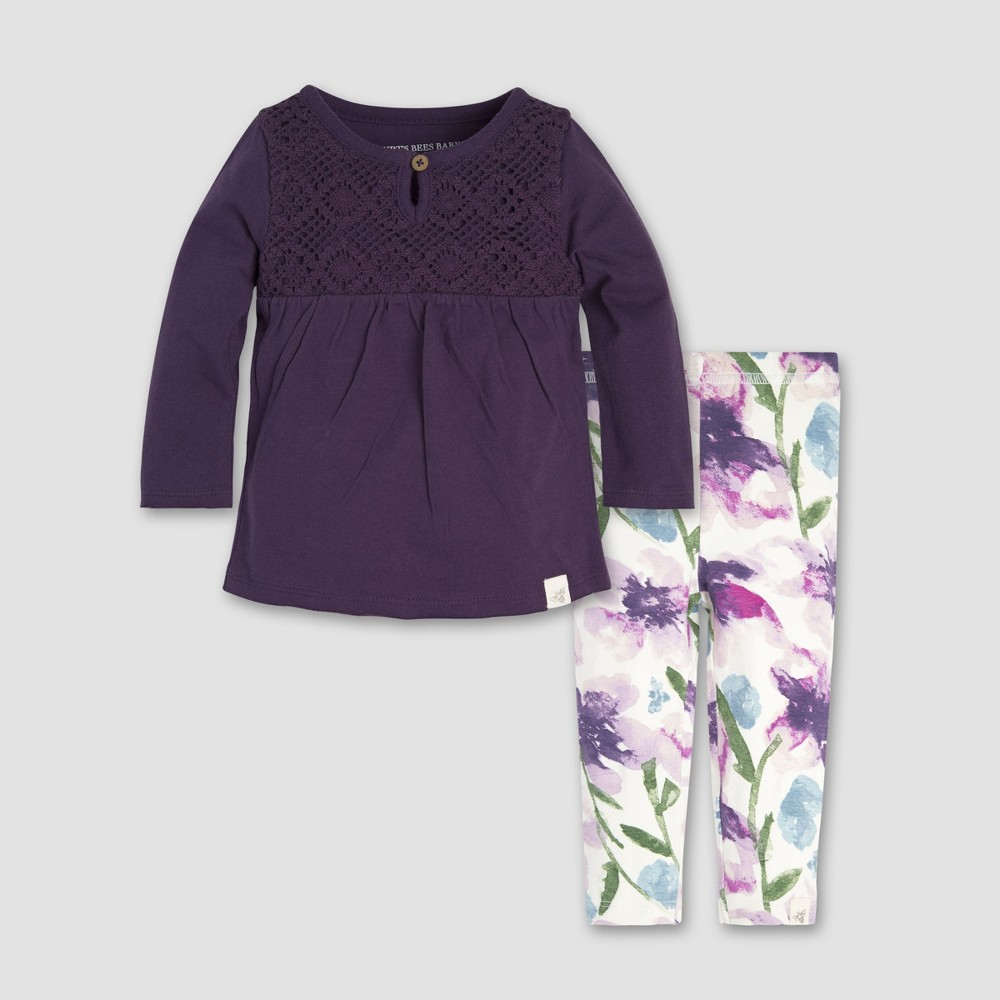 Burt's Bees Baby Baby Girls' Crochet Yoke T-Shirt and Floral Leggings Set - Purple 12M