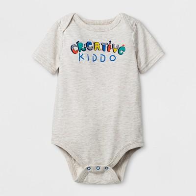 Baby Boys' Short Sleeve Creative Kiddo Bodysuit - Cat & Jack™ Heather 0-3 M