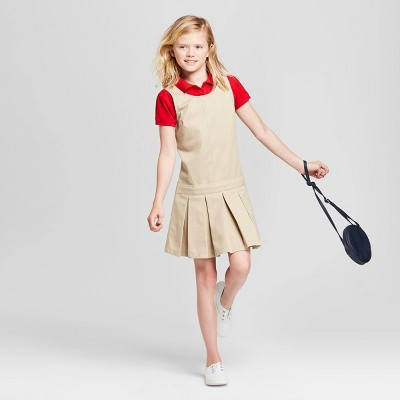 Girls' Uniform Woven Jumper - Cat & Jack™ Khaki