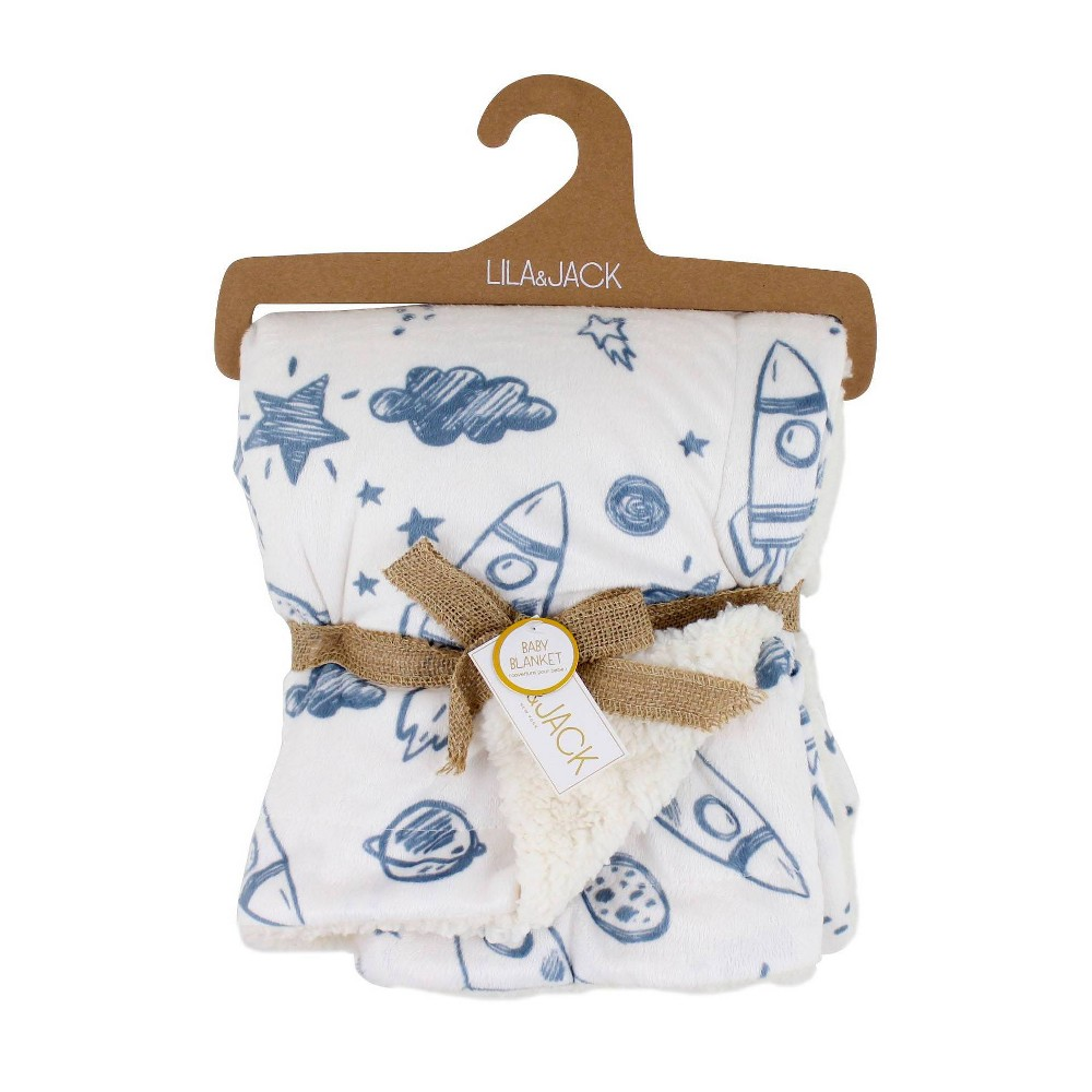 Image of Lila and Jack Baby Blanket Blue Rocket Printed Mink with Natural Sherpa Backing Kids Throw