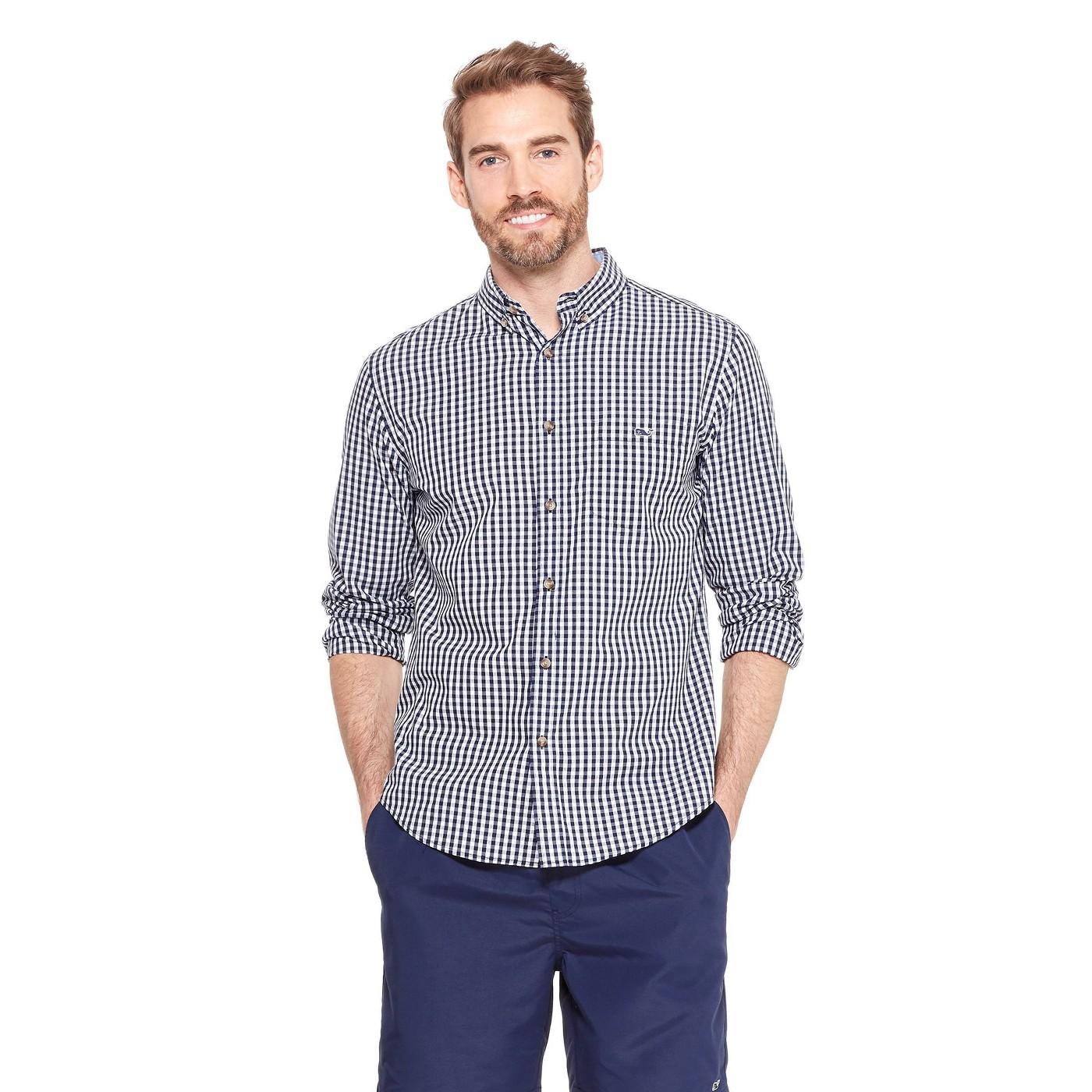 Men's Gingham Long Sleeve Woven Button-Down Shirt - Navy/White - vineyard vines® for Target - image 1 of 5