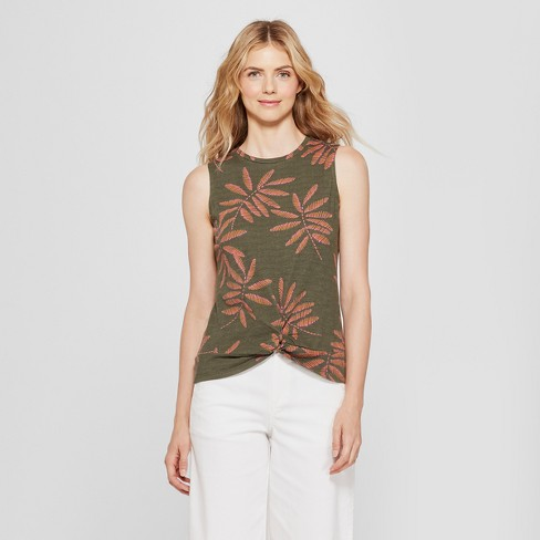 Women's Printed Twist Front Tank - A New Day™ Olive - image 1 of 3