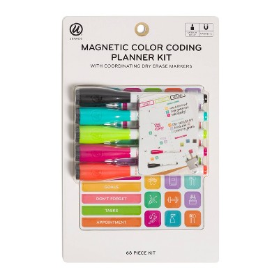 U Brands 68pc Magnetic Color Coding Planner Kit with Dry Erase Markers