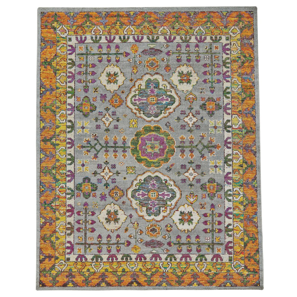 2'6X8' Runner Scroll Knotted Runners Meadow - Room Envy, Gray