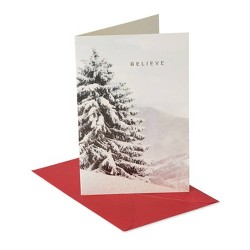 12ct American Greetings Snowy Tree Christmas Boxed Greeting Cards And Red Envelopes