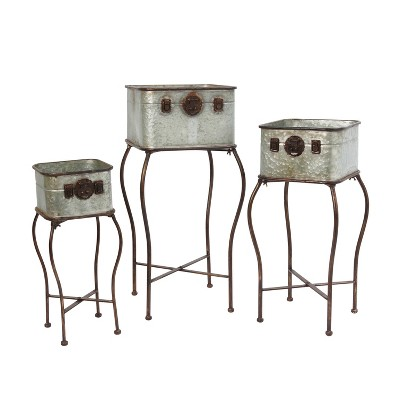 Gerson International Galvanized Metal Antique-Style Plant Holders with Stands,Set of 3