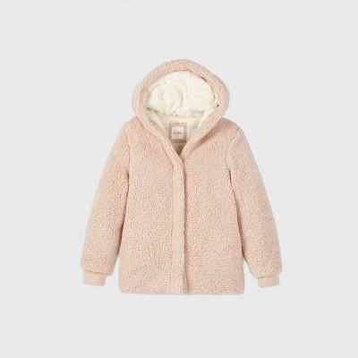 Girls' Cozy Hooded Sherpa Coat - Cat & Jack™ Beige S
