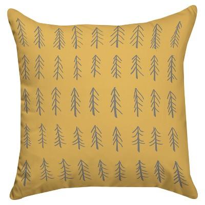 Yellow Little Tree Throw Pillow (18 x18 )Thumbprintz