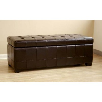 Full Leather Storage Bench Ottoman With Dimples Dark Brown   Baxton Studio  : Target