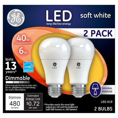 General Electric 40w 2pk LED Light Bulb White