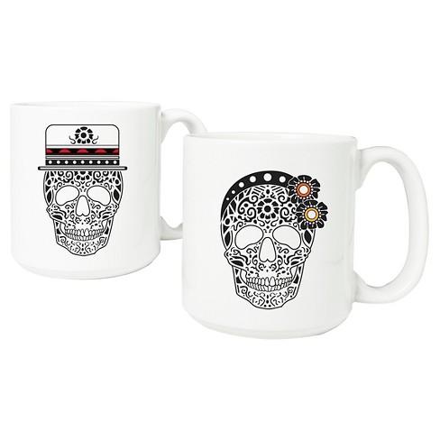 Halloween Sugar Skull Mugs - 2ct - image 1 of 3