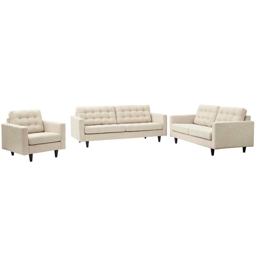 Set of 3 Empress Sofa, Loveseat & Armchair Beige - Modway