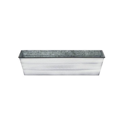 "22"" Galvanized Metal Rectangular Planter Box Cape Cod White - ACHLA Designs"