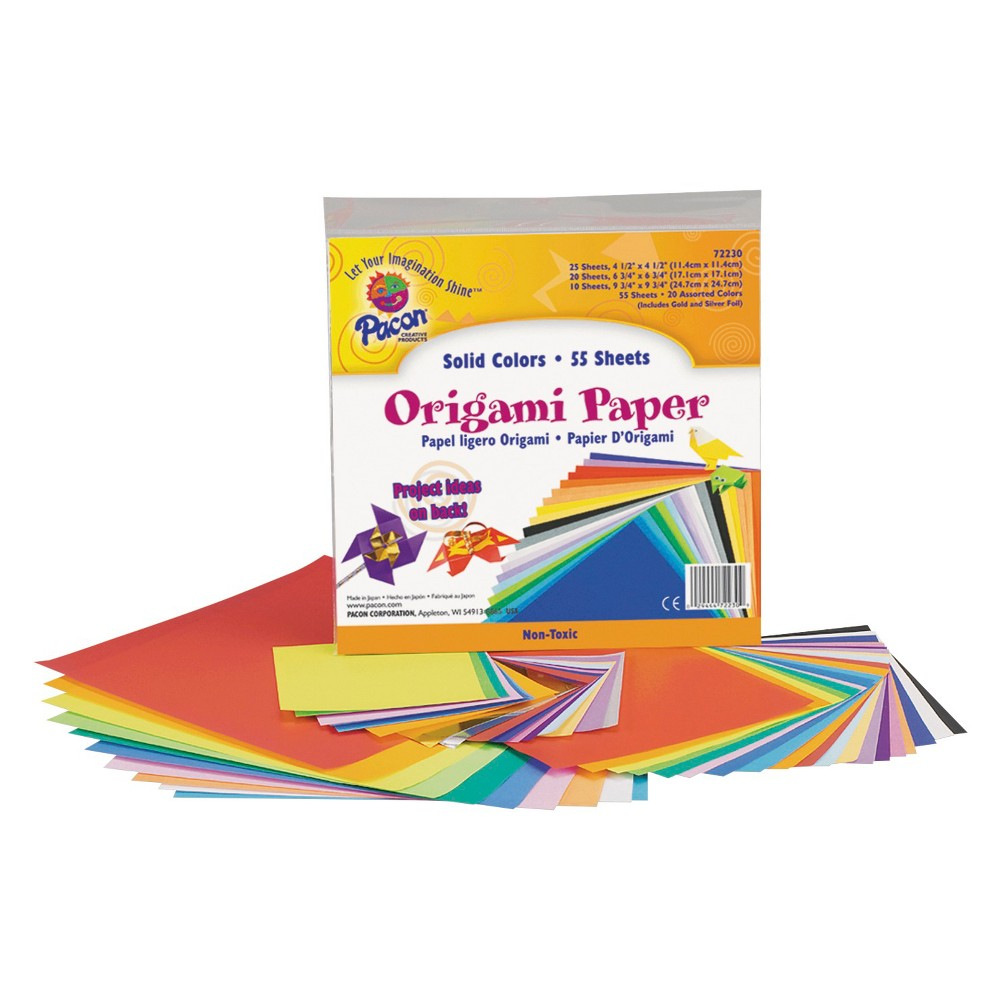 Pacon Origami Paper, 30 lbs., 9-3/4 x 9-3/4 - Multi-Colored (55 Sheets Per Pack)