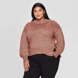 Women's Plus Size Crewneck Lurex Pullover Sweater - Ava & Viv™
