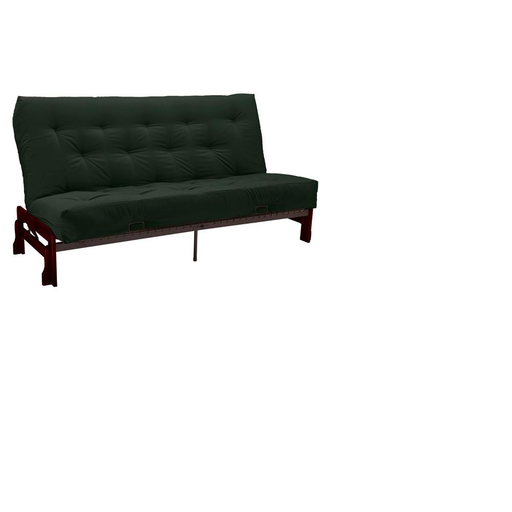 Low Arm 8 Inner Spring Futon Sofa Sleeper Mahogany Wood Finish - Epic Furnishings, Green