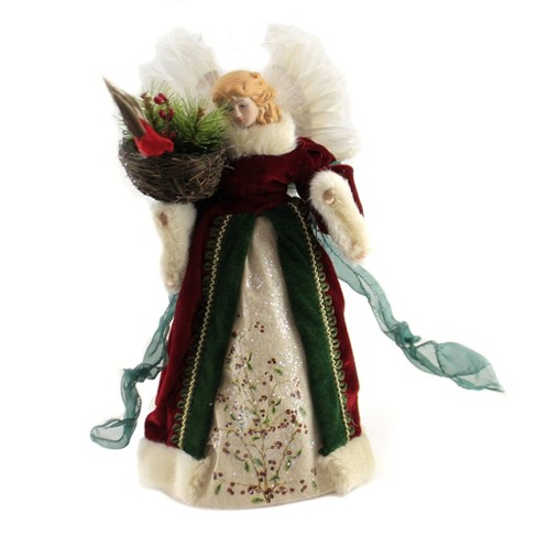 """Tree Topper Finial 12.0"""" Angel With Cardinal Tree Topper Bird Nest Heavenly  -  Tree Toppers - image 1 of 3"""