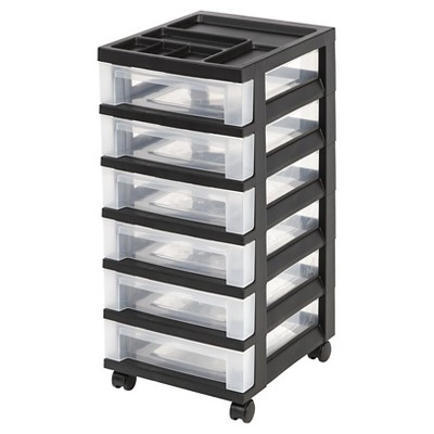 IRIS 6 Drawer Rolling Storage Cart Black