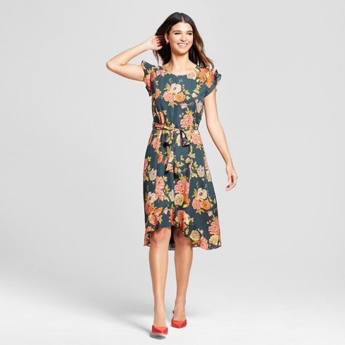 Women's Floral Midi Dress with Flutter Sleeve - Éclair - image 1 of 2