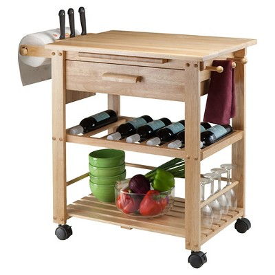 Finland Kitchen Cart Wood/Natural   Winsome : Target