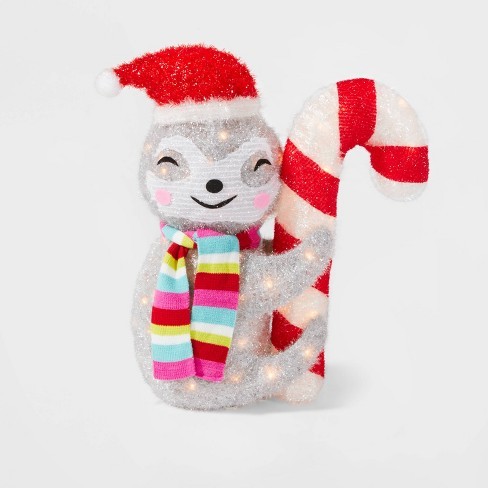 Incandescent 50 Light Tinsel Sloth with Candy Cane - Wondershop™ - image 1 of 2