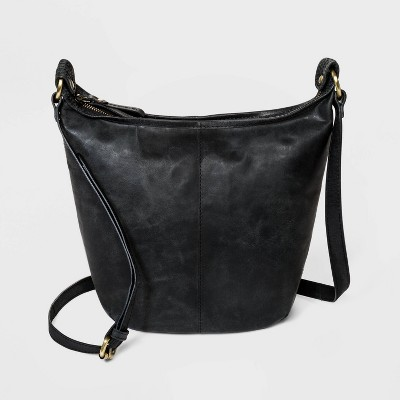 Bolo Zip Closure Shoulder Bag - Black