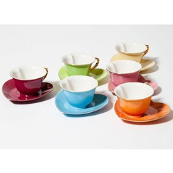 Yedi Housewares 3 Ounce Inside Out Heart Cup and Saucer, Set of 6, Multi Color