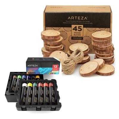 Arteza Arts & Crafts Set - 12 Pack of 22ml Acrylic Paints and 45 Wood Cutout Slices Bundle (ARTZ-NBNDL108)