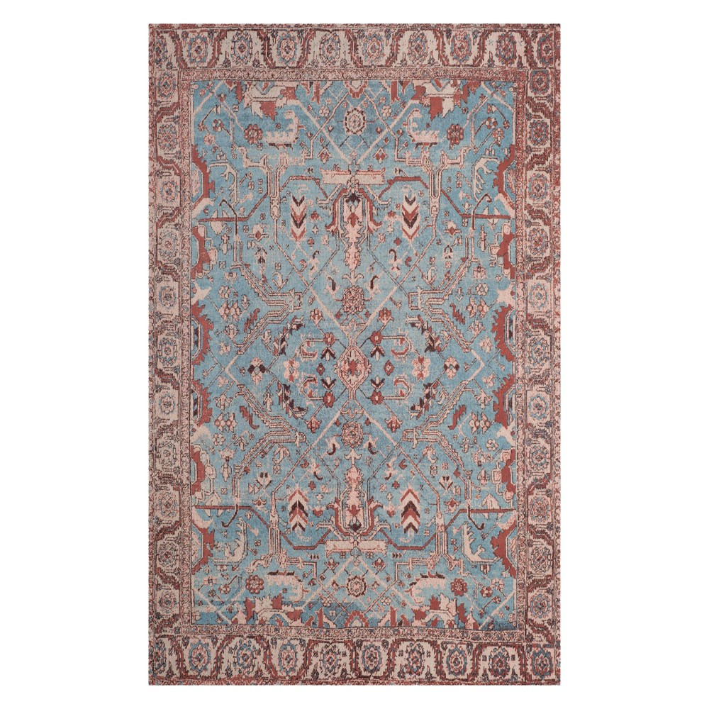 4'X6' Floral Loomed Area Rug Blue/Red - Safavieh