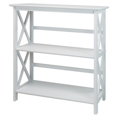 Casual Home Montego 3 Tier Open Shelf X Design Wooden Bookcase, Wood (White)
